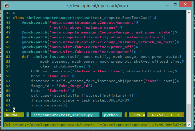 Screenshot of Vim in tmux