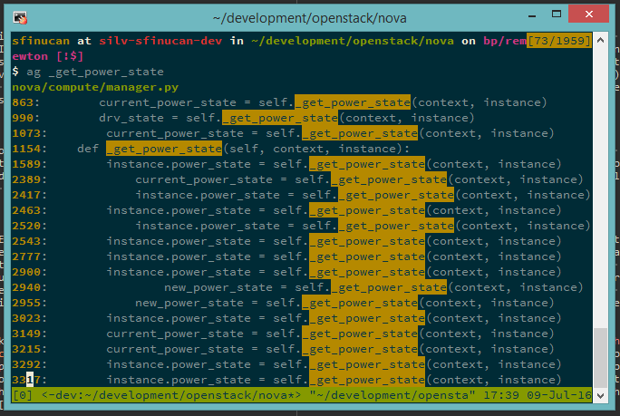 Screenshot of ag in tmux