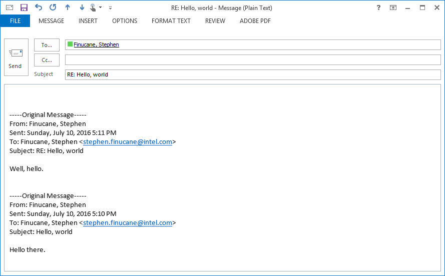 Screenshot of plain text mail before changes