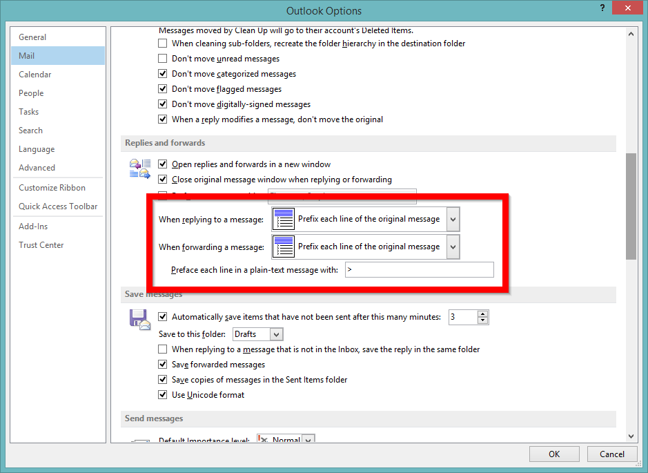Screenshot of configuring Outlook to prefix replies in a plain text email