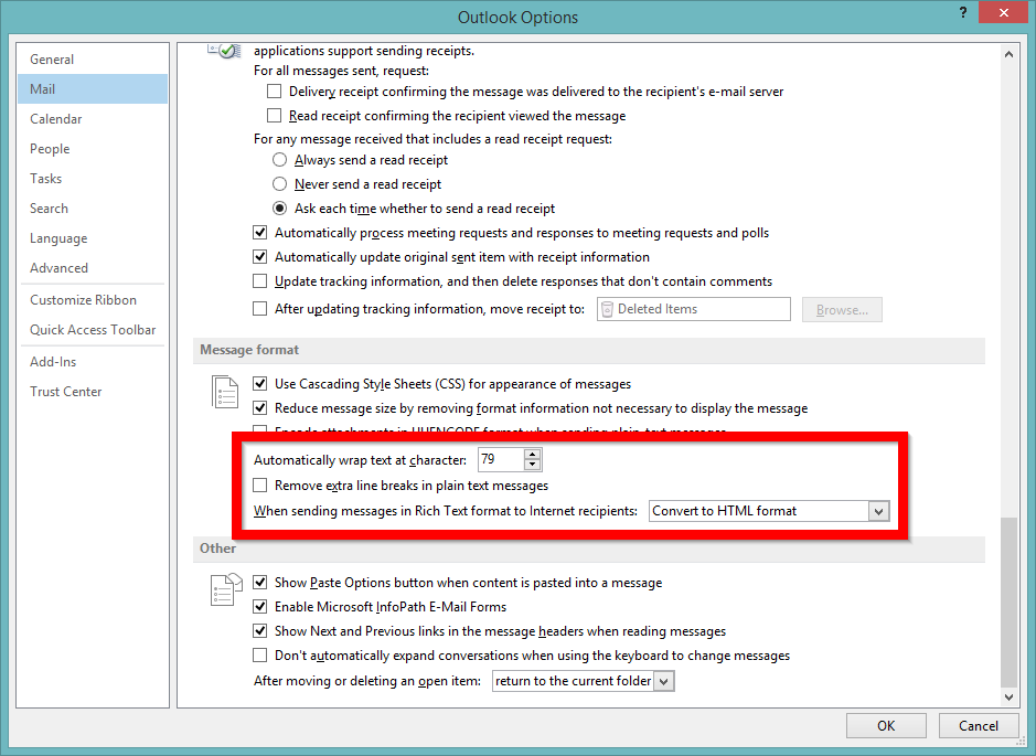 Screenshot of configuring Outlook to not strip extra line breaks
