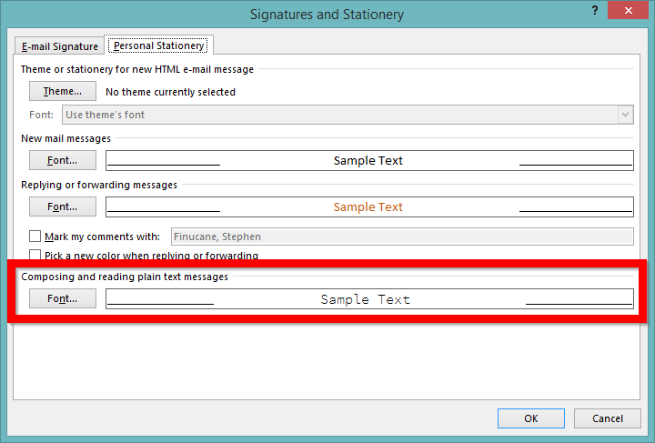 Screenshot of configuring Outlook to use monospace font (2)