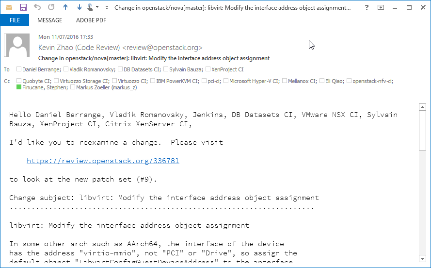 Screenshot of plain text email with correctly configured Outlook